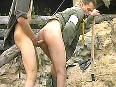Fixed anal sex with spunk fountain on war