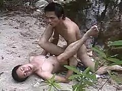 Neat Japanese gays make love making act in nature