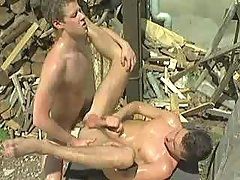 Naughty country guys playing anal fuck and jizzing