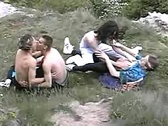 Twink hippies having sex in nature