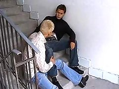 Juvenile guys suck each others rods in filthy corridor