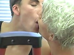 Triple hot fruits kiss and sucks in gym