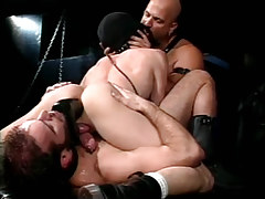 Hairy homosexual men dildofucks poor guy in fetish orgy