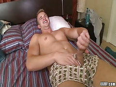Marvelous gay boy jerks off in bed