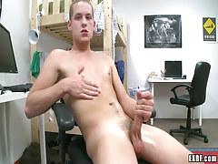 Blonde juvenile gay masturbates