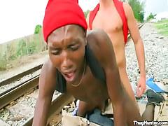Ebony gay guy man gets anal fuck behind on railyard