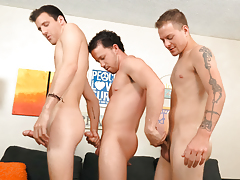 3 sexy direct boys laugh, relax & tug their meat together